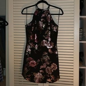 Dainty Hooligan Metallic Floral Bodycon Dress sz M